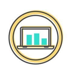 Data sorting icon with laptop sign vector