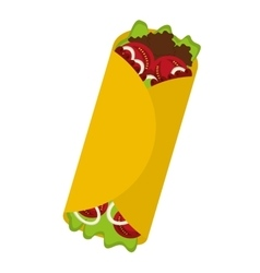 delicious mexican burrito fast food icon vector image