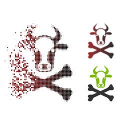 destructed pixel halftone cow death icon vector image