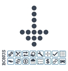 Dotted Arrow Down Flat Icon With Bonus vector image