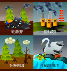 Ecological problems flat design concept vector