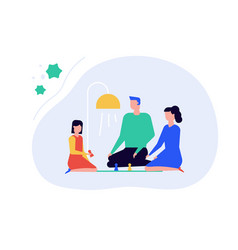 Family staying at home - flat design style vector