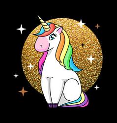 Fantasy animal horse unicorn on sparkle g vector