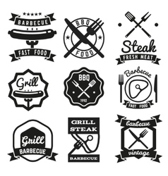 Fast food BBQ barbecue vintage emblems vector