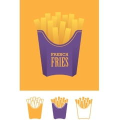 Four french fries icons vector image