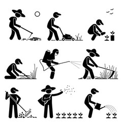 gardener and farmer using gardening tools and vector image