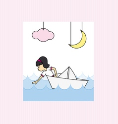 Girl in a paper boat vector