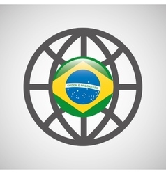 globe sphere flag brazil country button graphic vector image