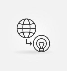 globe with light bulb outline icon world vector image