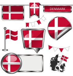 Glossy icons with Danish flag vector image
