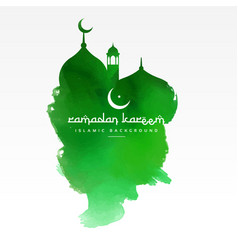 Green mosque design made with watercolor vector