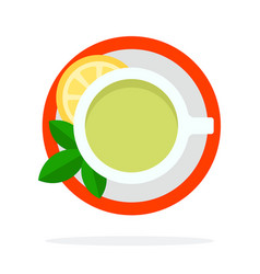 Green tea with mint and lemon top view flat vector