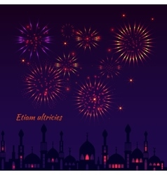 Greeting card with a silhouette of mosques and vector
