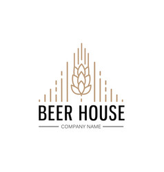 Hand drawn beer house logo template vector