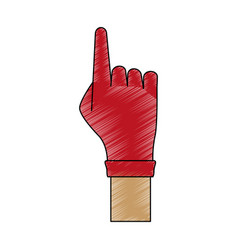 Hand with glove pointing up vector