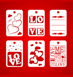 happy valentine day card hanger and heart vector image