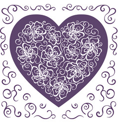 heart ornament ornate flower vector image