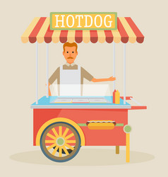 hot-dog cart with seller vector image