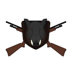 Hunting trophy Stuffed wild boar head vector