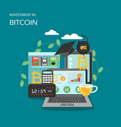 Investment in bitcoin flat style design vector