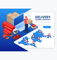 isometric checking delivery and ligistics service vector image