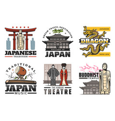Japan culture traditions and travel landmarks vector