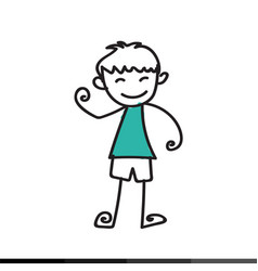 kid cartoon doodle hand drawing design vector image