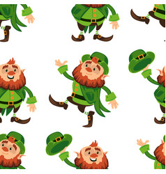 leprechaun cartoon character seamless pattern vector image