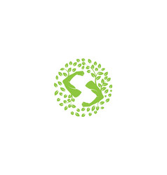 Letter s for hand health with leaf logo design vector