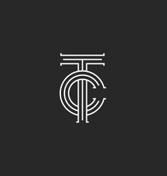 Letters tc logo monogram overlapping thin lines vector