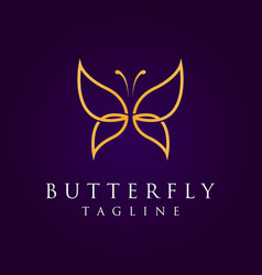lone art gold butterfly logo in luxury background vector image