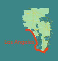 los angeles map flat style design vector image