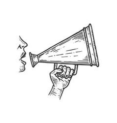 loudspeaker speech engraving vector image