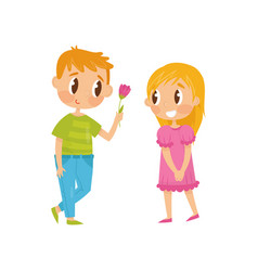 lovely flat of two little kids vector image