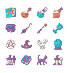 Magic color icons set witchcraft sorcery vector