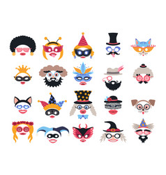 masquerade set various masks for costume vector image