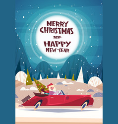 merry christmas and happy new year poster vector image