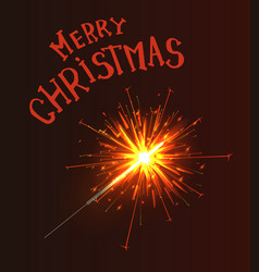 merry christmas greeting text sparkler burns fire vector image