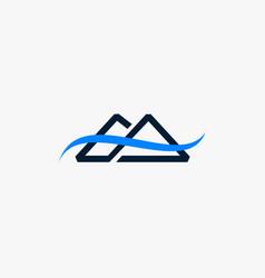 Mountain river creative abstract business logo vector