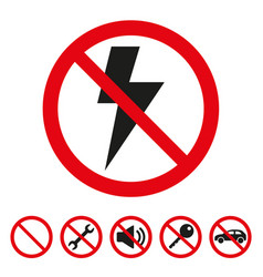 no lightning sign on white background vector image