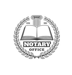 Notary office law firm or juridical company icon vector