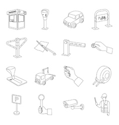 Parking zone set icons in outline style Big vector