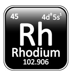 Periodic table element rhodium icon vector