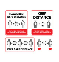 please keep safe distance sign for public place vector image