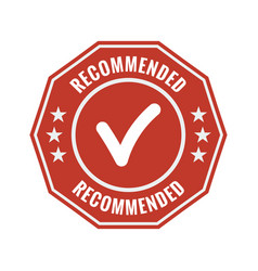 recommended red flat badge vector image