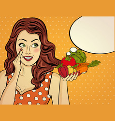 Red-haired lady with vegetable in her hands vector