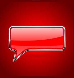 Red speech bubble with chrome frame on red vector