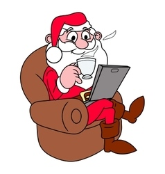 Santa Claus with laptop vector image