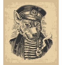 Sea wolf with pipe vector image