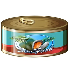 Seafood in aluminum can vector